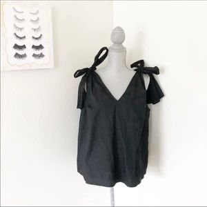 Who What Wear Black Bow Tie Strap Tank